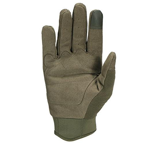 JIUSY Military Knuckle Airsoft Paintball Motorcycle Cycling Riding Hunting Army Combat Touch Full Finger Gloves Size Green Small B16