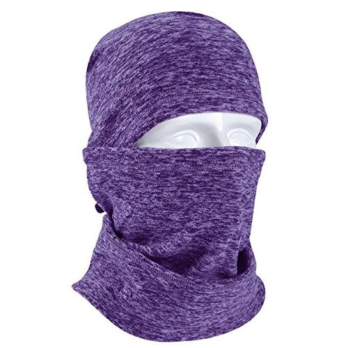 JIUSY Balaclava Windproof Face Drawstring for Hunting Weather Outdoor Purple