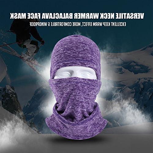 JIUSY Balaclava Windproof Face Mask Adjustable Drawstring Hunting Cycling Weather Sports Purple