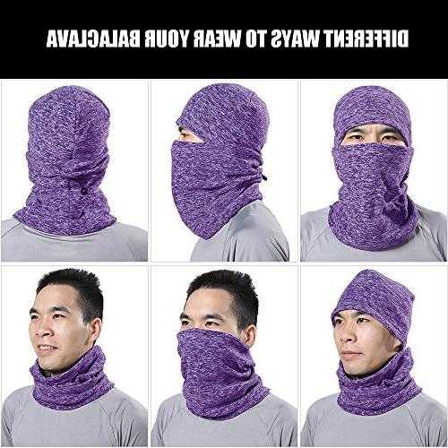 JIUSY Balaclava Windproof Face Mask with Drawstring for Hunting Motorcycle Purple