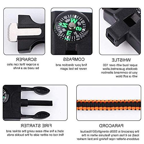 BOROLA Pack Paracord Survival Bracelet Compass Emergency Rope for