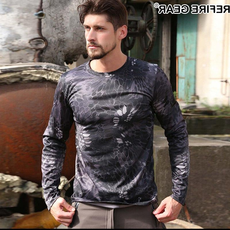 ReFire Sleeve Outdoor Camouflage T-shirt <font><b>Men</b></font> Quick Neck Camo Shirt <font><b>Hunting</b></font> Shirt