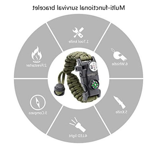 LeMotech Survival Bracelet, 20 in 1 Paracord Survival Gear Kit Compass, Whistle, Hiking, Camping Hunting - Pack