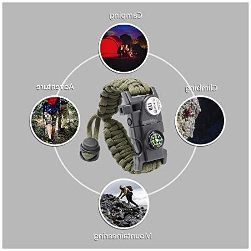 LeMotech Survival 20 in Survival Paracord Bracelet, Whistle, Starter Hiking, Camping Hunting -