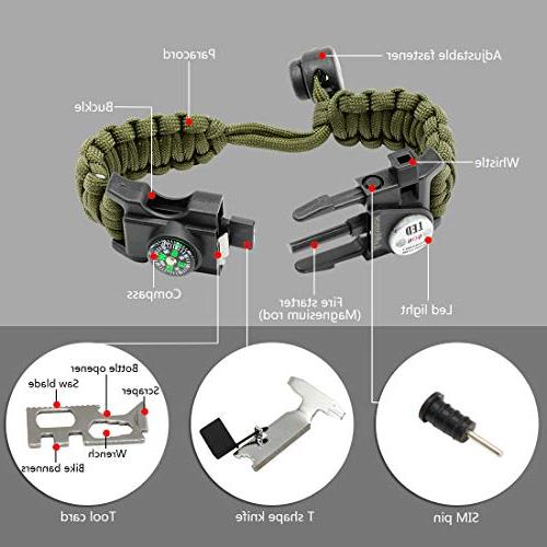 LeMotech Bracelet, in 1 Survival Paracord Survival Kit with Compass, Whistle, Hiking, - Pack
