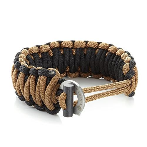 X-Plore Paracord 550 Bracelet With Fire Starter, Scraper Adjustable Fit Wilderness, Camping, Hunting