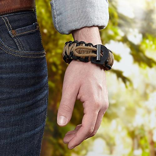 X-Plore Survival 550 Bracelet Kit Fire Starter, Scraper | Adjustable For Secure Fit For Wilderness, Emergencies, Hunting