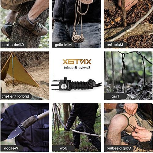 XNTBX - Survival Gear with Compass, Fire Starter, Whistle, Scraper, Best Wilderness Survival-Kit for Hiking/Camping