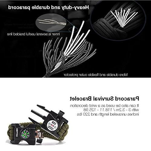 XNTBX Survival - Survival Gear Kit with SOS LED Compass, Fire Scraper, Emergency Knife Wilderness