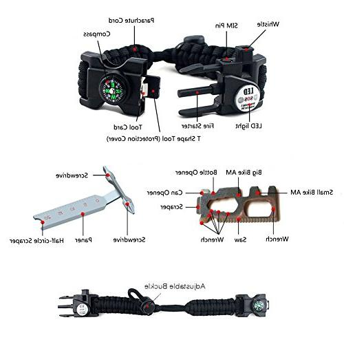 XNTBX Survival - Survival Gear with Compass, Fire Scraper, Emergency Wilderness