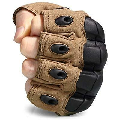 JIUSY Gloves Fingerless Hard Rubber Knuckle Half For Army