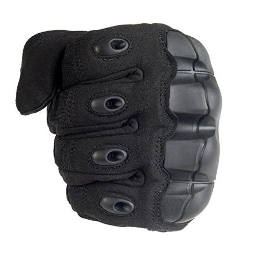 JIUSY Screen Rubber Hard Knuckle Gloves Finger Paintball Gear Sports Cycling Riding Shooting Hunting Size Black