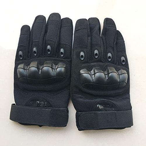 JIUSY Screen Rubber Knuckle Gloves Paintball Outdoor Sports Cycling Motorcycle Shooting Hunting Size Black