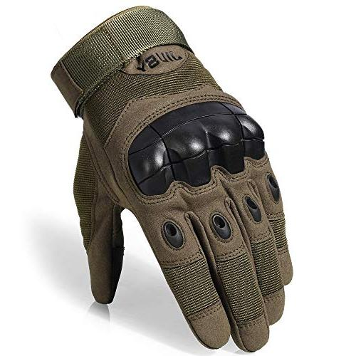 JIUSY Touch Screen Rubber Gloves Full Finger Paintball Army Sports Motorcycle Riding Shooting Size Medium Green