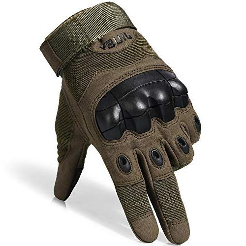 JIUSY Touch Screen Rubber Hard Tactical Gloves Paintball Sports Cycling Shooting Size Medium Green
