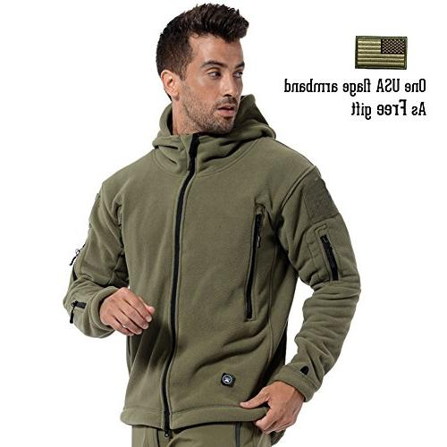 ReFire Men's Warm Military Tactical Fleece Hoodie Jacket,Army