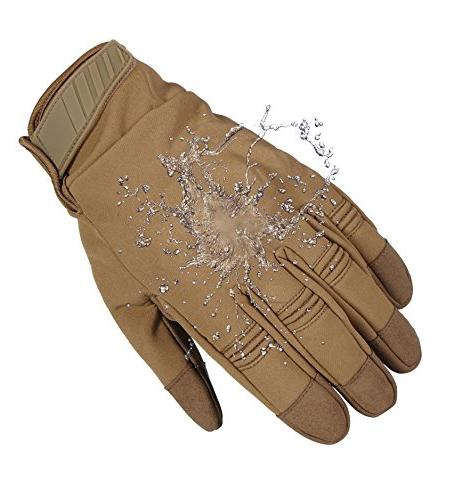 JIUSY Winter Touch Screen Military Rubber Hard Full Gloves Cycling Hunting Snowboard Riding Bicycle Work Brown Large