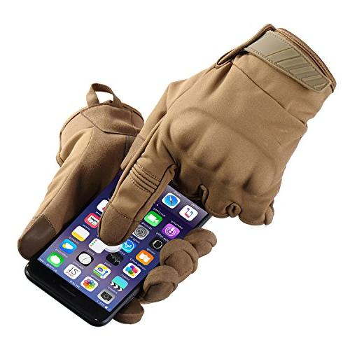 JIUSY Winter Windproof Touch Military Rubber Hard Full Cycling Hunting Riding Outdoor Brown