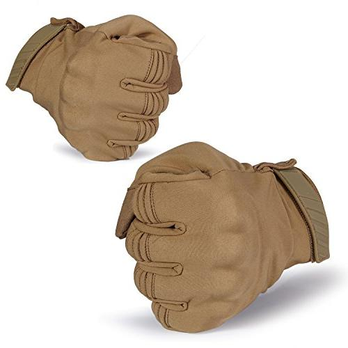 JIUSY Touch Screen Hard Knuckle Tactical Gloves Full Finger Gloves Cycling Hunting Snowboard Riding Bicycle Brown