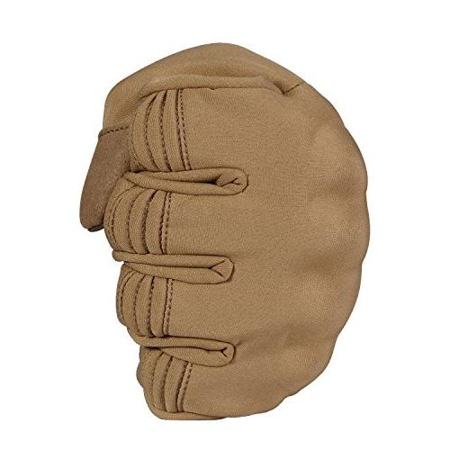 JIUSY Winter Touch Military Rubber Hard Full Finger for Cycling Riding Brown Large