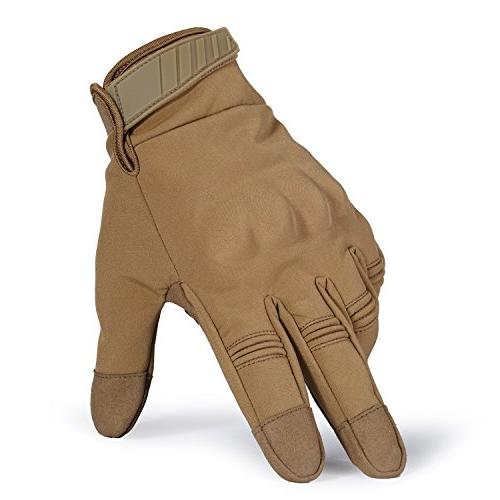 JIUSY Winter Touch Screen Military Hard Cycling Riding Brown