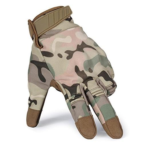 JIUSY Winter Touch Screen Hard Knuckle Full Gloves Cycling Motorcycle Hunting Riding Camouflage Medium