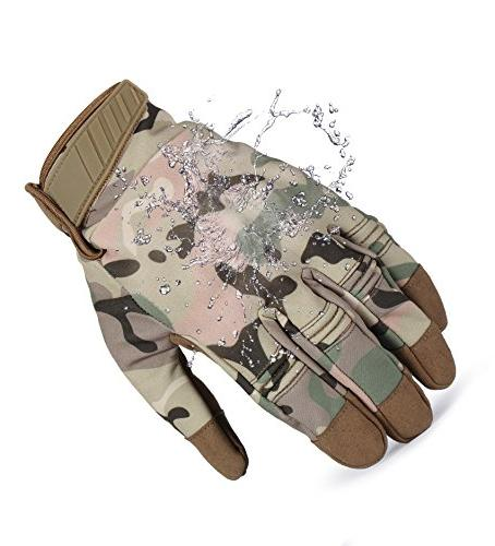 JIUSY Winter Windproof Touch Rubber Hard Knuckle Full Finger Gloves for Riding Camouflage Medium