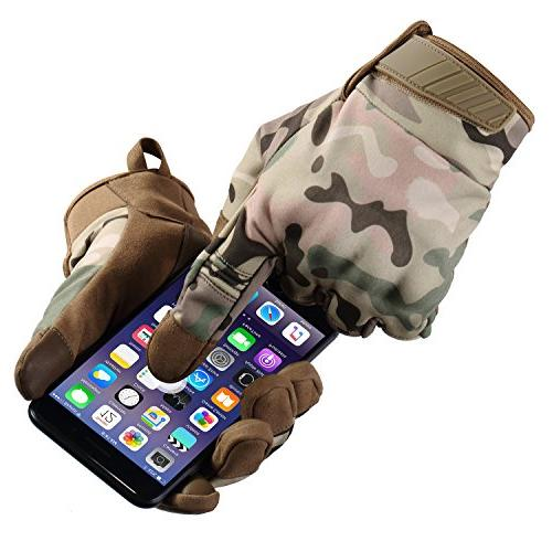 JIUSY Windproof Touch Screen Military Hard Knuckle Tactical Gloves Full Gloves Cycling Motorcycle Hunting Snowboard Riding Camouflage