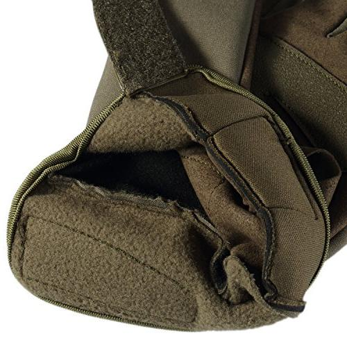 JIUSY Windproof Touch Military Rubber Hard Knuckle Full Gloves for Cycling Hunting Riding Work Outdoor Green X-Large