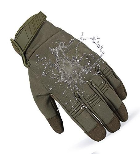 JIUSY Windproof Touch Screen Hard Tactical Full Finger Gloves for Cycling Snowboard Riding Bicycle Green