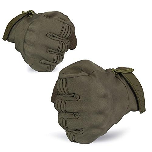 JIUSY Warmer Touch Military Hard Knuckle Tactical Full Finger Cycling Motorcycle Snowboard Riding Bicycle Work Green Size