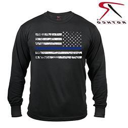 Rothco Long Sleeve Thin Blue Line T-Shirt, X-Large