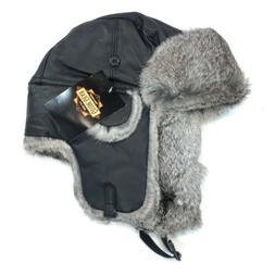 Guide Gear Medium Hat Trapper Rabbit Fur Leather Buckle Bomb