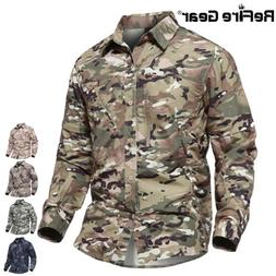 ReFire Gear Men's Camo Tactical Shirt Quick Dry Removable Sl