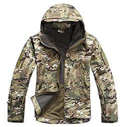 TACVASEN Men's Military Softshell Tactical Jacket Hooded Fle