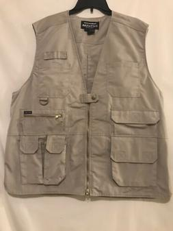 new beige hunting fishing cargo vest size