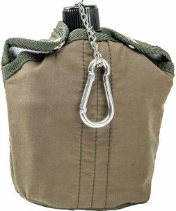 Olive Green 32oz Aluminum CANTEEN Cover Cup Clip Hunting Cam