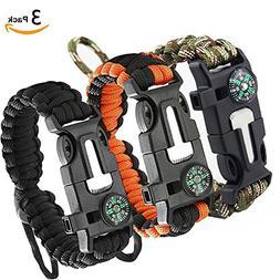 3 Pack Paracord Bracelet, Survival Gear Kit with Compass, Fi