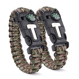 BOROLA Pack of 2 Paracord Bracelet Multifunctional Outdoor S