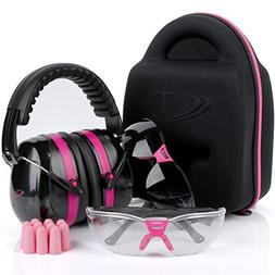 TRADESMART Pink Ear Muffs, Earplugs, Gun Safety Glasses & Pr