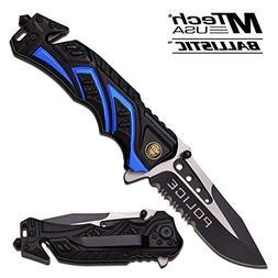 "8"" Police Blue/Black MTECH SPRING ASSISTED FOLDING KNIFE Bla"