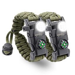 LeMotech Survival Bracelet, 20 in 1 Adjustable Survival Para