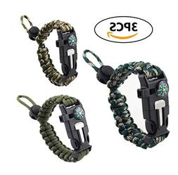 Survival Bracelet, Coideal 3Pcs Outdoor Camping Kit Adjustab