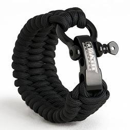 Titan Paracord Survival Bracelet | Black | X-Large  | Made w