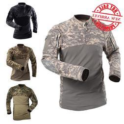 ReFire Gear Tactical Army Combat Shirt Men Long Sleeve Camou