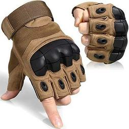 JIUSY Tactical Gloves Military Fingerless Hard Rubber Knuckl