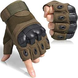 tactical gloves military fingerless hard