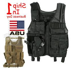 Tactical Vest Military Gun Holder Molle Police Airsoft Comba