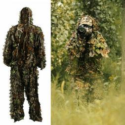US 3D Ghillie Suit Set Sniper Train Leaf Jungle Forest Hunti