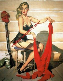 Vintage Pin-up Girl with Hunting Gear - Poster in 3 Sizes